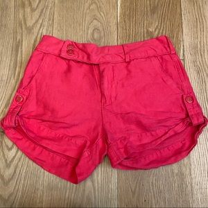 Esley Button Up Hem Shorts Red size S